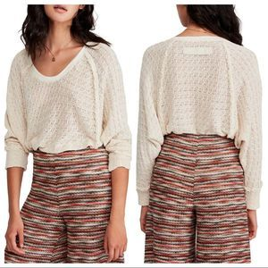 Free People | Thien's Hacci Frayed Knit Cream Top